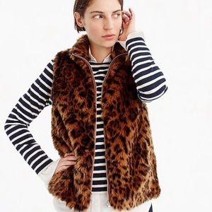 J. Crew Faux Fur Leopard Print Vest